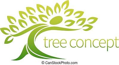 Person tree icon concept