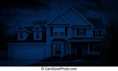 Person Turns On Light In House At N