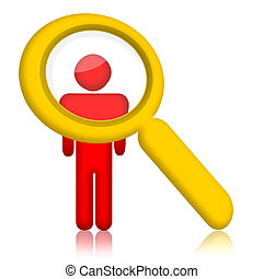 Person under magnifier glass - Person and magnifier glass...