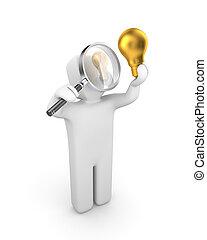 person, untersucht, lightbulb., neue idee, metapher