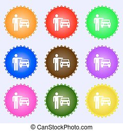 person up hailing a taxi icon sign. Big set of colorful, diverse, high-quality buttons. Vector