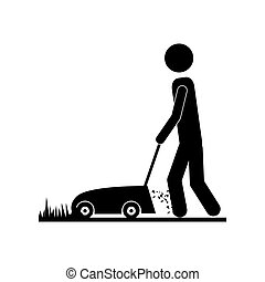 person using lawn mower icon image vector illustration design
