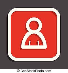 Person vector icon. Flat design square internet red button.