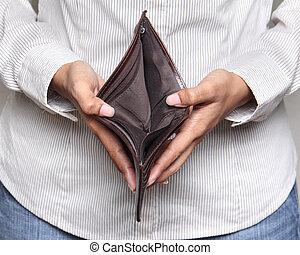 person, visande, -, plånbok, holdingen, bankcruptcy, tom