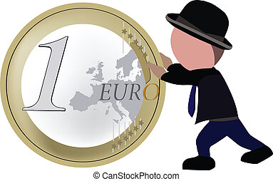 person walking pushes one euro coin