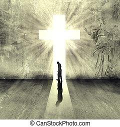 person walking to heaven gate