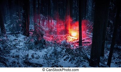 Person Walks Through Snowy Wilderness With Flare - Wide shot...