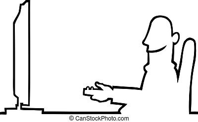 Person watching television - Black line art illustration of...