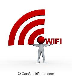 person, wifi, 3d