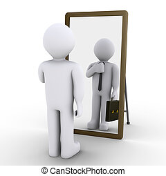 Person wishes employment - 3d person looking at mirror and...