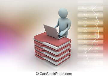 person with a laptop on file folders