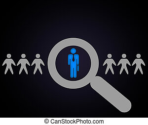 Person with a search symbol in a row