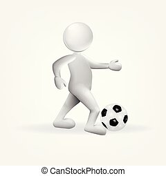 Person with a soccer ball 3d image vector