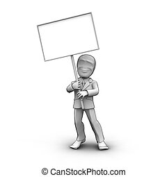 person with blank board