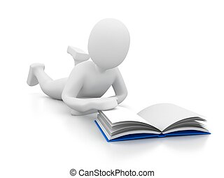 person with book on white backgroun