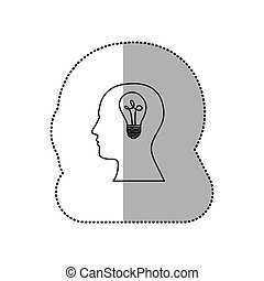 person with brain bulb icon