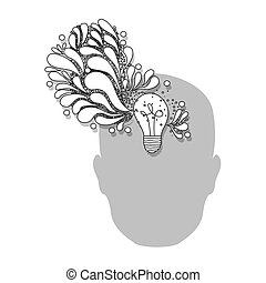 person with bulb brain icon