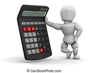 Person with calculator - 3D render of someone stood next to...