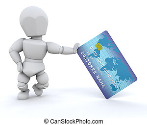 person with charge card - 3d render of a person with a...