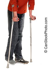 Someone with crutches isolated on white background
