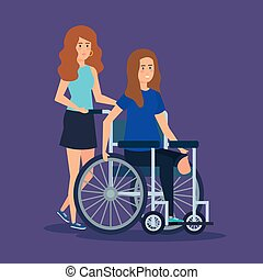 person with disabled woman sitting in the wheelchair