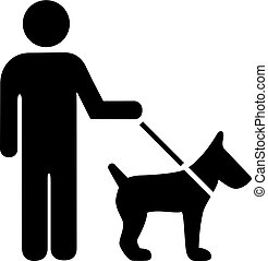 Person with dog vector icon isolated on white background