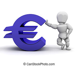 Person with Euro sign - 3D render of someone with Euro sign