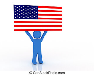 Person with flag