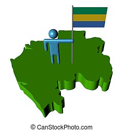 person with flag on Gabon map illustration