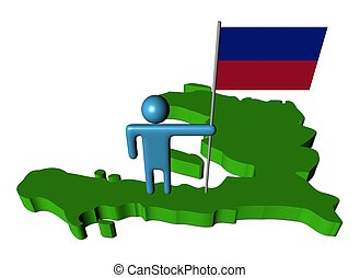 person with flag on Haiti map illustration