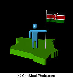 person with flag on Kenya map