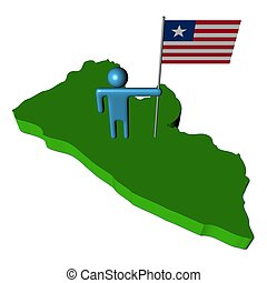 person with flag on Liberia map illustration