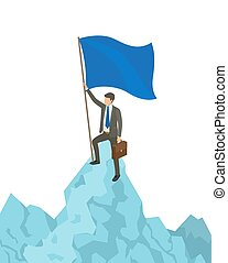 Person with Flag on Mountain Vector Illustration