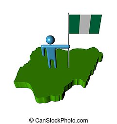 person with flag on Nigeria map illustration