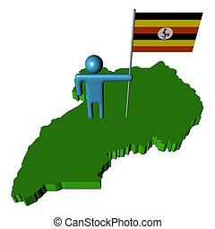 person with flag on Uganda map illustration