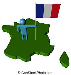 person with French flag on map illustration