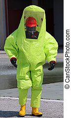 person with great yellow suit against biological risk during...