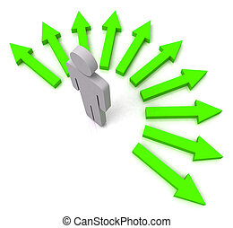 Person With Green Arrows Shows Many Choices