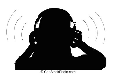 Person with headphones listening to music vector.