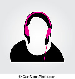 Person with headphones vector