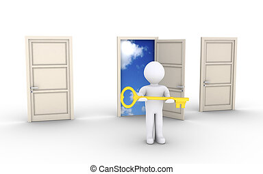 Person with key is offering access to special door