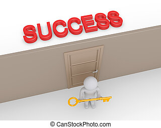 Person with key is offering access to success