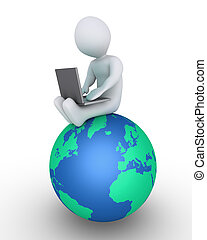 Person with laptop on globe