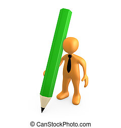 Person With Large Pencil