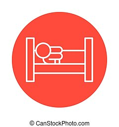person with lying in bed covid19 symptom line style icon