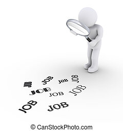 3d person holding a magnifier is looking at JOB words on the ground