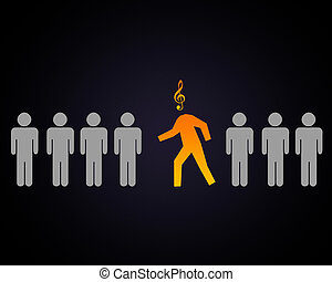 Person with music note