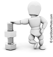 Person with nut and bolt - 3D render of someone with a nut...