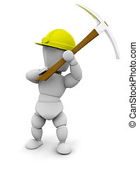Person with pick axe