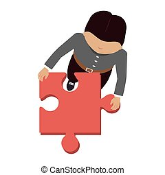 person with puzzle pieces game icon